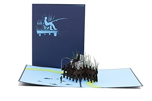 Angler, Fischer, angeln, Angel-Gutschein, Angelsport, Anglergeschenk, 3d Klappkarte, Pop Up Karte, Glückwunschkarte, Grußkarte, Geschenkkarte
