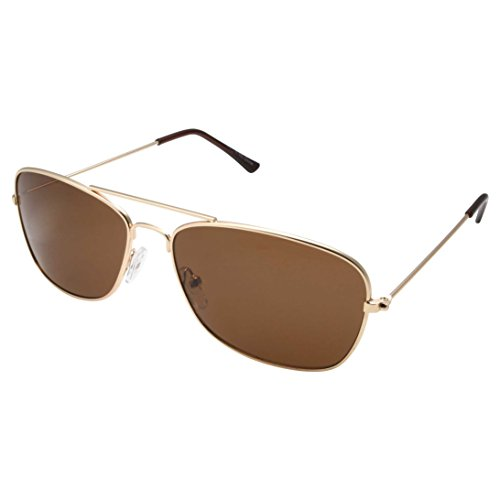 of grinderpunch sunglasses for men grinderPUNCH Square Aviator Sunglasses Regular Size - Gold Frame with Brown Lens