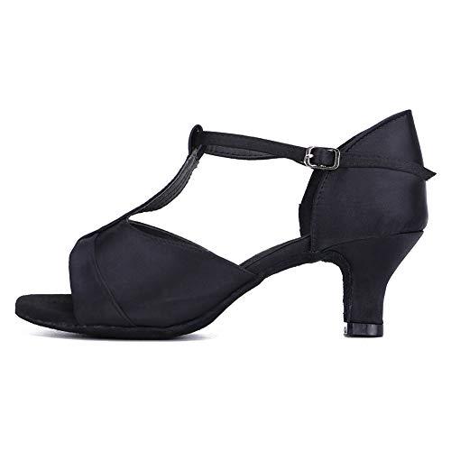 HIPPOSEUS Zapatos de Baile Latino con Correa en T para Mujer Zapatos de práctica de Baile de salón de satén,Negro,38.5 EU