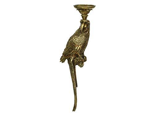 Engelnburg hoogwaardige kandelaar kandelaar kaarsenhouder papegaai polyhars goud 13x10x52cm