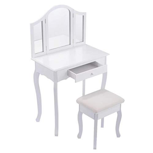 White Makeup Vanity Table and Stool Set Modern Tri Folding Mirror Bedroom Vanity Dressing Table Set Dressers