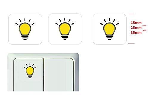 Generisch 3 Stück Schalter Aufkleber Licht Symbol Schalteraufkleber (RT25/1) (35 x 35 mm)