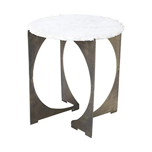 HomeRoots Round Live-Edge Side Table with Marble Top and Gold Metal Base