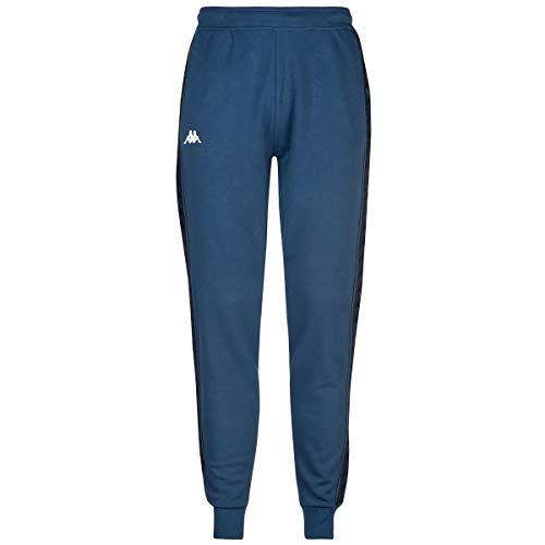 Kappa Pantalone Uomo Blu in Felpa Stampa con Logo e Bande Laterali 3111HZWA56 XL