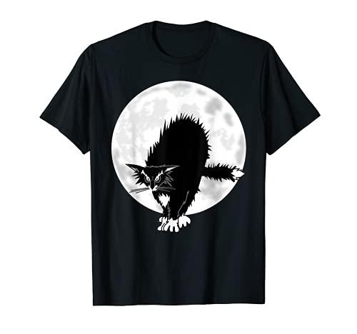 DISFRAZ DE HALLOWEEN MOON GATO BRUJA SEORA HOMBRE MUJER Camiseta