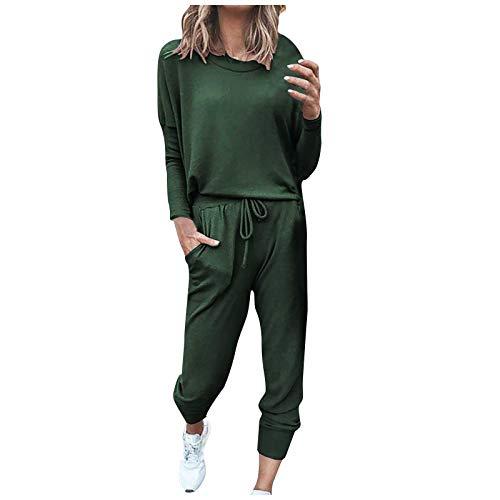 Women Loungewear Set Pajama Jeans for Women Pure Color Sweatsuit Crewneck Loungewear Long Pants Workout Lounge Set