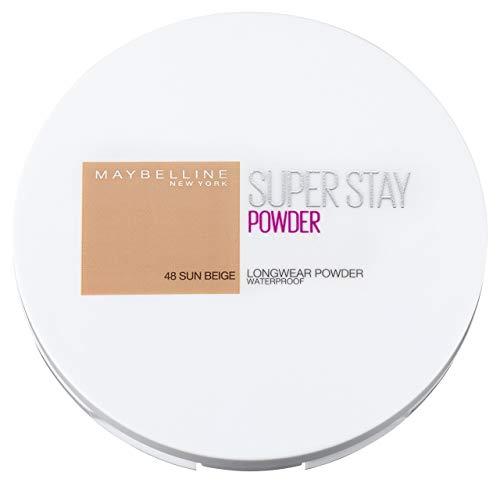 Maybelline New York Puder Makeup, Wasserfest, mattierend und langanhaltend, Super Stay Full Coverage Puder Foundation, Nr. 48 Sun Beige, 9 g