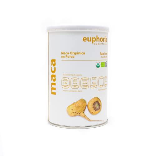 Euphoria Superfoods - Raíz de Maca Orgánica en Polvo- Ideal para Enriquecer Bebidas y Alimentos - 200 Grs