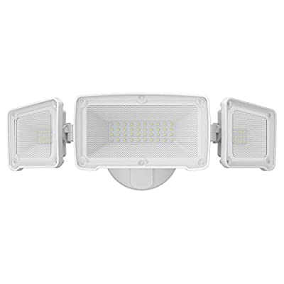 LEPOWER 3500LM LED Flood light Outdoor, Switch Controlled LED Security Light, 35W Super Bright Exterior Lights with 3 Adjustable Head, 6000K, Full Metal Design, IP65 Waterproof for Garage, Yard, Patio