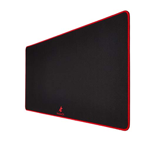 AnubisGX (39 Color/Size Options) Gaming Mouse Pad (XL: 36x18), Black Pad with Red Stitching. Best Premium Waterproof Non RGB Computer Gaming XL Desk Pad Mat, Large Non-Slip Gamer Mousepad