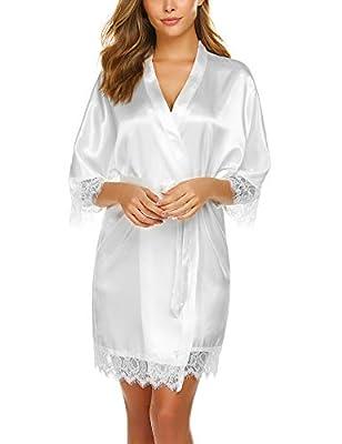 Avidlove Women Lace Trim Bridesmaid Kimono Robes Satin Nightwear White Medium