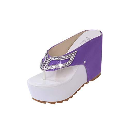 Women's Summer Shoes Woman Rhinestone Flip Flops Spuer High Heels Wedges Platform Fashion Beach Sandals Zapatos Mujer Purple 7.5