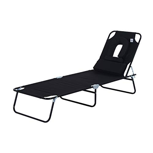 Outsunny Sun Lounger Foldable Reclining Chair with Pillow and Reading Hole Garden Beach Outdoor Recliner Adjustable Black