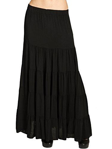 Caspar RO020 Langer eleganter Damen Maxi Sommer Rock Faltenrock, Farbe:schwarz, Größe:L/XL