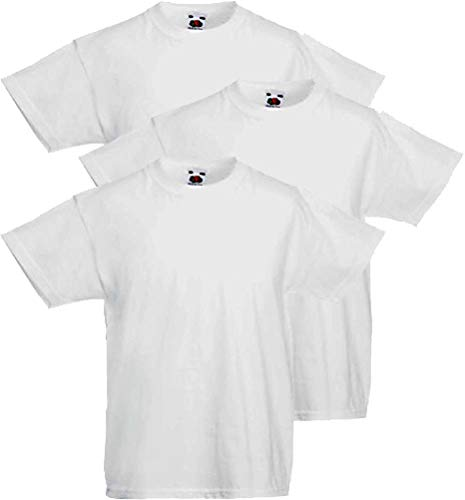 Fruit of the Loom 3 camisetas para niño Valueweight (5 – 6 años, 116 cm, White_30)