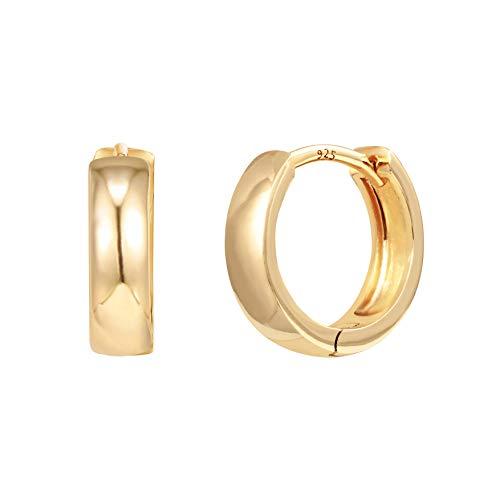 PAVOI Pendientes de plata de ley chapados en oro de 14 quilates | Pendientes de aro pequeños | Pendientes de oro para mujer