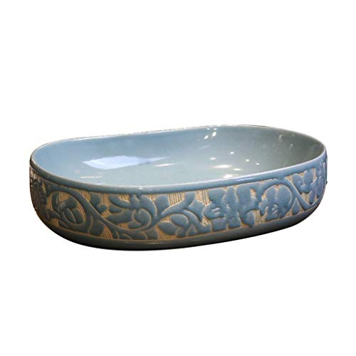 HEMFV Tocador de Lavabo de baño Embarcaciones Ovalada de cerámica del Fregadero, Fregadero de la vanidad, Arriba Contador Lavabo del Arte Lavabo for lavatorio Vanidad del gabinete