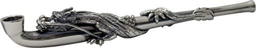 豪華 真鍮豆延煙管 キセル きせる 日本製手造り 龍 参 銀いぶし仕上げ