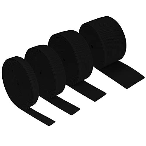 GUBOOM 4 Rollos Elastica Costura, Banda Elástica De Alta Elasticidad Para Costura 10mm 20mm 30mm 40mm, Cinta De Goma De Costura 5M Para Costura y Bricolaje Doméstico (Negro)
