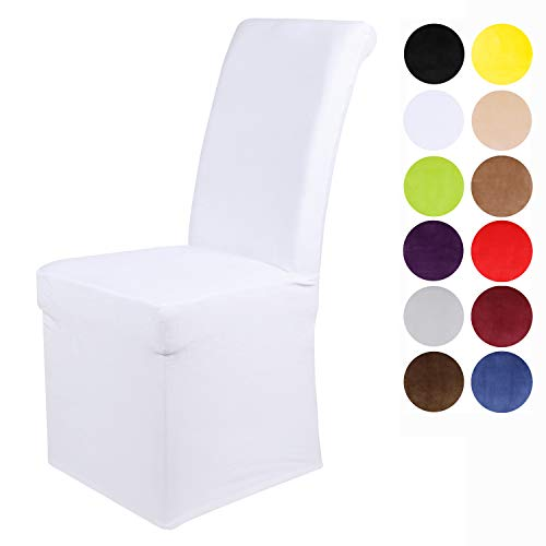 Colorxy Velvet Stretch Chair Covers for Dining Room, Soft Removable Long Solid Dining Chair Slipcovers Set of 4, White