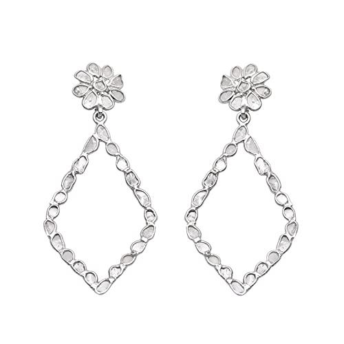 Pendientes colgantes hechos a mano de diamantes polki naturales de peso ligero de 2.60 ctw - plata de ley 925