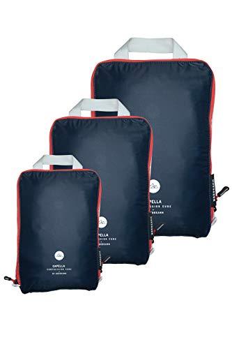 NORDKAMM Packtaschen mit Kompression, Koffer-Organizer, blau, Set M L XL