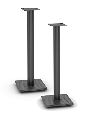 Atlantic Bookshelf Speaker Stands - Steel Construction, Pedestal Style & Built-in Wire Management, Support Bookshelf-Style Speakers up to 20 lbs. PN 77335799 - Black 2-Pack