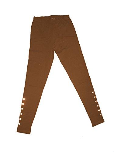 Unbekannt Modische Leggings mit Zierknöpfen am Bein, 95% Baumwolle 5& Lycra; top Modefarben, sexy, braun, Gr. 38