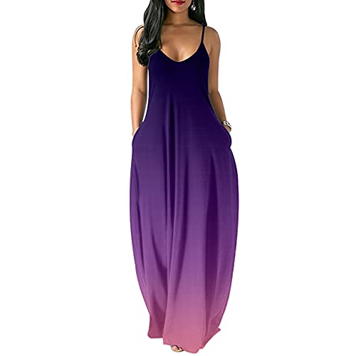 Laffyett Women's Summer Casual Loose Striped Printed Dress Spaghetti Strappy Long Cami Maxi Dress with Pockets