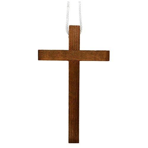 Junker Kirchenbedarf Kreuzanhänger 10cm - großes Umhängekreuz aus dunklem Holz - ideal für Kommunion Konfirmation