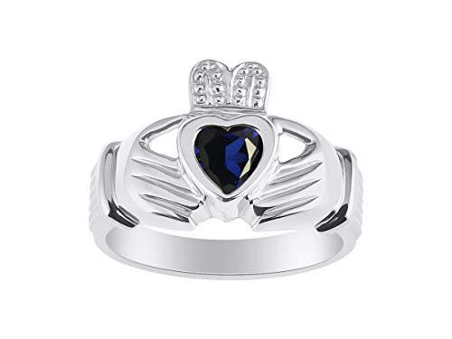 RYLOS Claddagh, Chaddah, Cladder Love, Loyalty Freindship Blue Sapphire & Diamond Ring - September Birthstone