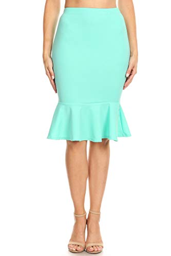 Solid Casual Sexy Work Elastic Waistband Knee Ruffle Pencil Skirts/Made in USA Mint L