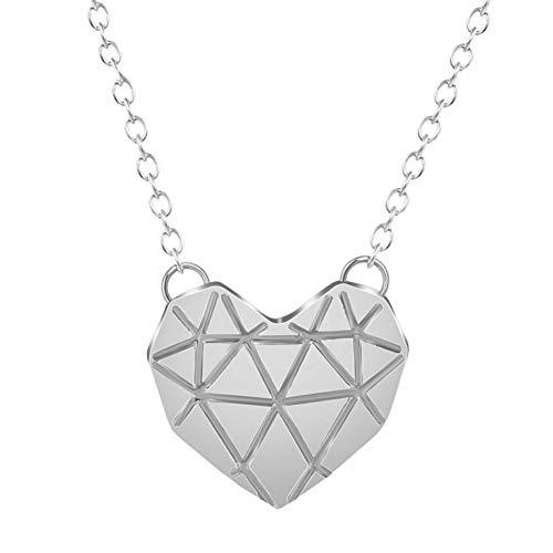 AISHIPING Origami 3D Heart Necklace Boho Punk Cut Heart Pendant Lovers Joyería para Mujeres Accessaries