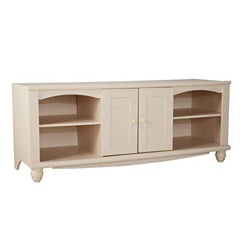 Sauder Harbor View Entertainment Credenza, For TV's up to 60', Antiqued White finish