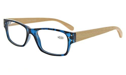 Eyekepper Spring Scharniere Holz Arme Lesen Brille Männer Frauen Blaue Schildkröte +2.25