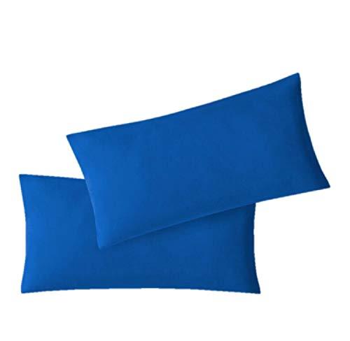 EXKLUSIV HEIMTEXTIL Federe in Jersey, Confezione Economica 2 Set con Cerniera di Alta qualità 40 x 60 cm Blu Reale