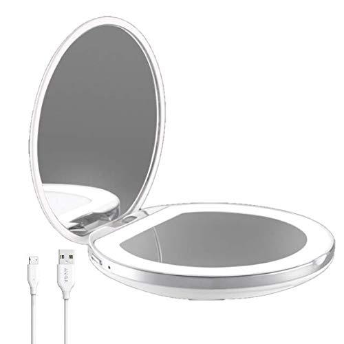Flybiz USB Quick Charge Miroir Lumineux de Poche, Grossissant 1x / 3x - LED Lumière du Jour, Miroir à Main de Maquillage, Miroir Portable Éclairé pour Sacs à Main et Voyage