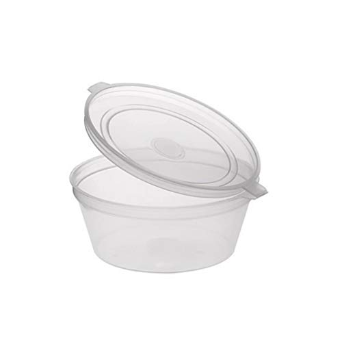 Sabco - Clear Round Hinged 1oz 2oz Pots with Lids.- Deli Pots - Perfect for Takeaways, Restaurants - Chutney, Ketchup Container & Hinged Sauce Pots (100, 4oz)