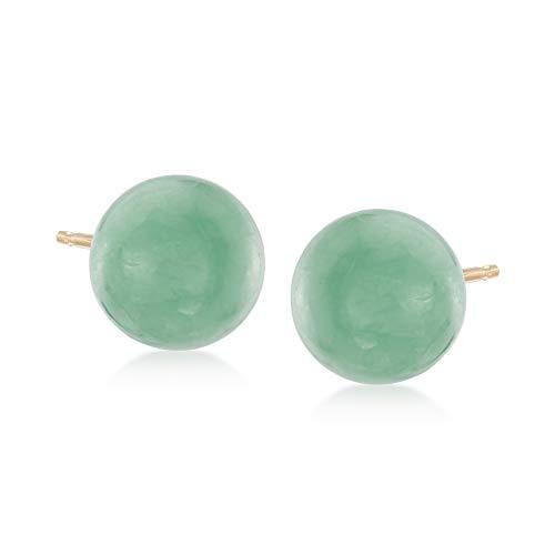 Ross-Simons 10mm Green Jade Stud Earrings in 14kt Yellow Gold