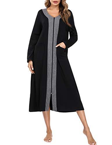 Aibrou Robe de Chambre Femme Longue Peignoir Coton Femme Col V Manches Longues Chemise de Nuit Femme avec 2 Poches Fermeture Eclair,XL,Gris