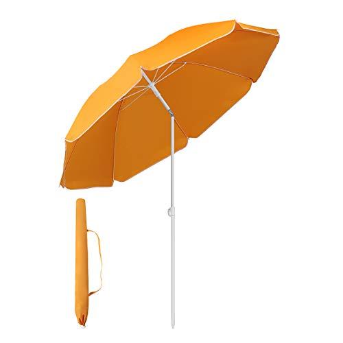 Sekey® Sonnenschirm 160 cm Marktschirm Gartenschirm Terrassenschirm Orange Rund Sonnenschutz UV20+