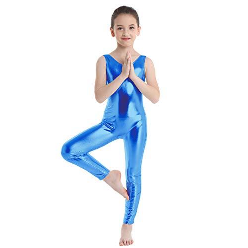 CHICTRY Tuta da Ginnastica Artistica Bambina Body da Danza Senza Maniche Vestito da Balletto Ragazza Abito da Ballo Bodysuit Zentai Leggings Sportiva Dancewear Allenamento Blu 12-14 Anni