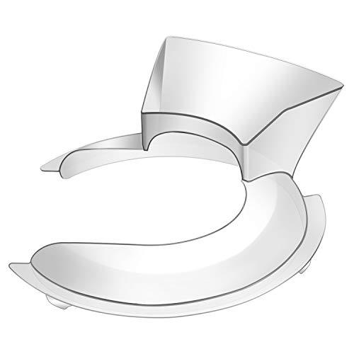 KN1PS Pouring Shield W10616906 for Kitchen Aid 4.5-5qt Polished or Brushed Stainless Steel Tilt-Head Stand Mixer Bowl K45SS, K4, K5, Directly Replace W10616906, WPW10616906, AP6023411 - Clear Plastic