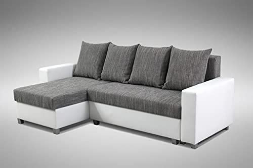 Küchen-Preisbombe Schlafsofa Sofa Couch Ecksofa Eckcouch weiß hellgrau Schlaffunktion Luanda 3 L/R