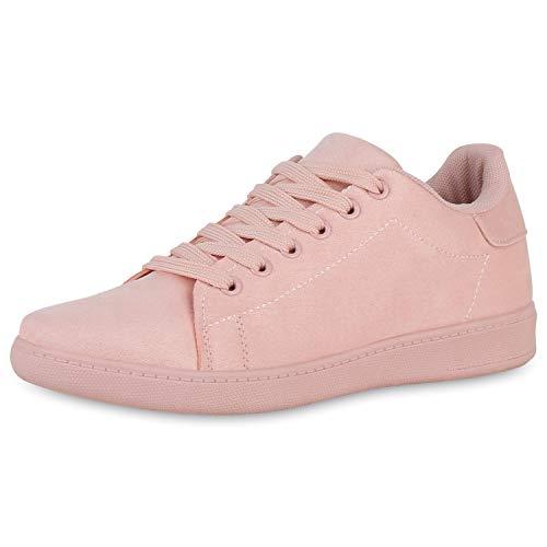 SCARPE VITA Damen Sneaker Low Turnschuhe Bequeme Basic Schuhe Schnürer Freizeitschuhe Wildleder-Optik Schnürschuhe 191152 Rosa 36