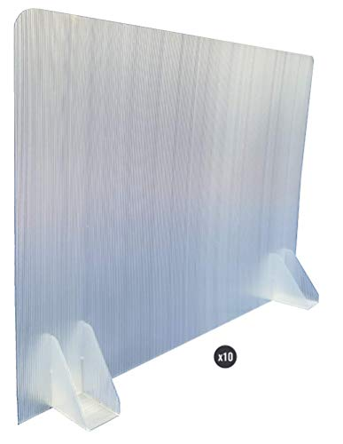 KMINA - Mamparas para Oficinas (Pack x10 uds.), Mampara Protectora Mesa Oficina, Mampara Oficina Plástico, Separador Oficina o Divisor Mesa Escritorio de 70 cm de Largo y 50 cm de Alto