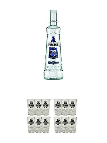 Puschkin Vodka 3,0 Liter + Puschkin Shotglas mit Eichstrich 6 Stück + Puschkin Shotglas mit Eichstrich 6 Stück