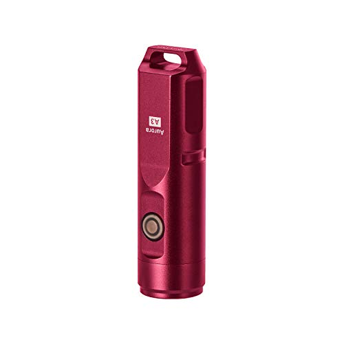 RovyVon Aurora A3 Rechargeable Keychain LED Flashlight, 650 Lumens Cree Super Bright with EDC Mini size,5 Modes,USB Charge Li-Battery,Waterproof, Perfect Choice for Camping Emergency Outdoor(Red)