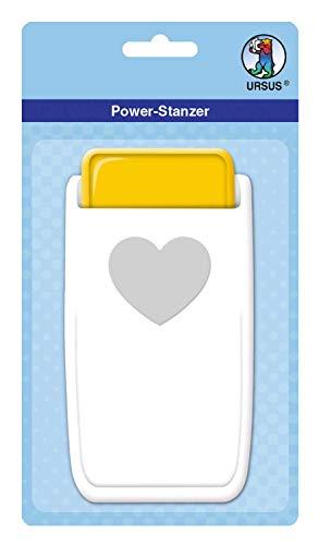 URSUS 19760001 Power Stanzer Herz, Größe ca. 3,8 cm, für viele Materialien wie Kork, Pappe, Moosgummi, Folien und Kunststoff geeignet, mit Schließvorrichtung zur platzsparenden Aufbewahrung, weiß/gelb