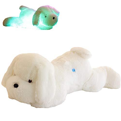 YunNasi Peluches Perros Luminoso Luz de Noche Super Suave y Tierno Perrito Plush, Blanco Puppy 50cm